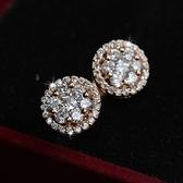耳環 玫瑰金 925純銀鑲鑽-鏤空花紋情人節生日禮物女飾品73gs246【時尚巴黎】