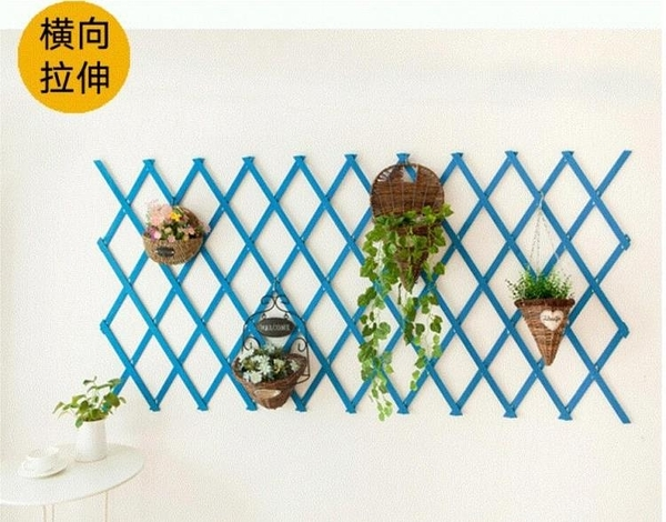 實木網格掛牆裝飾花架壁掛陽臺地中海菱形花架掛式植物花盆架彩色(65cm 碳化 橘黃 天藍)