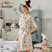 睡裙女夏季純棉短袖薄款可愛孕婦睡衣睡袍日式和服浴袍全棉家居服「錢夫人小鋪」