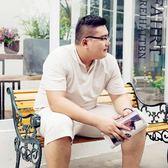 夏季亞麻大碼套裝男加肥加大胖子短袖t恤潮流休閒寬鬆 棉麻兩件套T  易貨居