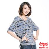 【BOBSON】女款寬版燒花布五分袖上衣(33088-87)