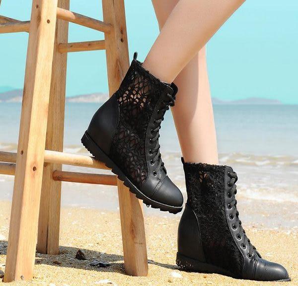 卡樂store...內增高好穿的鞋韓版透氣蕾絲網布休閒鞋 2色 黑色 35-40 #bd756
