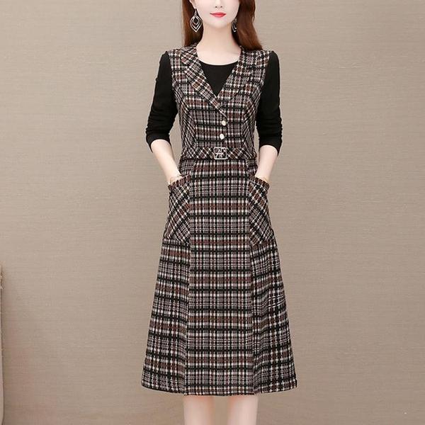 媽媽裝洋裝 新款假兩件配大衣裙兩件套減齡洋裝高端時尚洋氣大尺碼裙子T