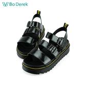 Bo Derek 漆皮厚底率性涼鞋-黑色