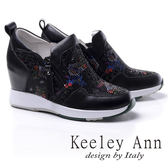 ★2017秋冬★Keeley Ann滿鑽流線拼接舒適真皮鞋墊內增高休閒鞋(黑色) -Ann系列