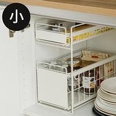 日式廚衛兩用雙抽收納架(小)(2色) 完美主義 E0080白色