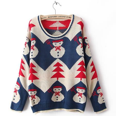 ※現貨_歐美風聖誕雪人緹花針織毛衣 2色【TR17002】