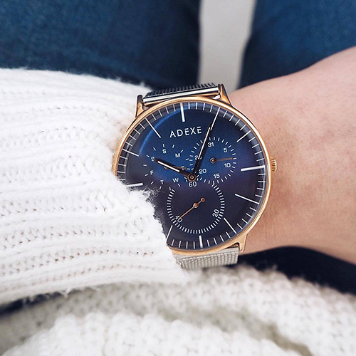 ADEXE 英國時尚手錶 THEY三眼系列 藍錶盤x玫瑰金錶框米蘭錶帶41mm