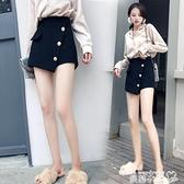 毛呢短褲 毛呢短褲女2021秋冬新款秋款女士顯瘦外穿高腰配靴子的闊腿褲褲裙 曼慕