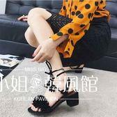 羅馬鞋2018夏季新款性感流蘇磨砂高跟鞋粗跟羅馬交叉綁帶露趾中跟涼鞋女-大小姐韓風館