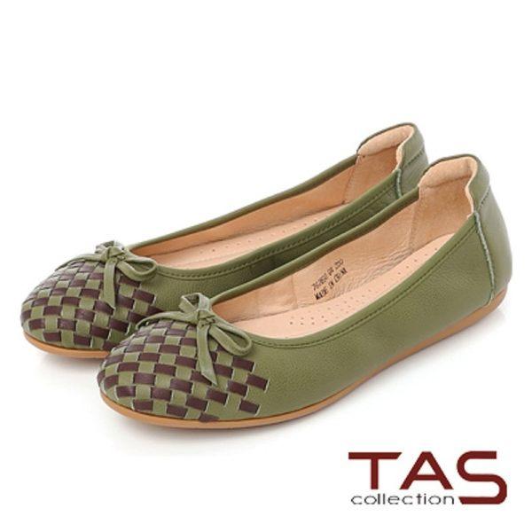 ★2017AW★TAS 蝴蝶結雙色編織格紋娃娃鞋-復古綠