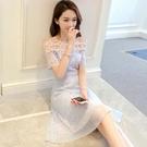一字肩蕾絲洋裝性感露肩公主網紗裙子超仙女森系 琪朵市集