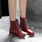 雨鞋-英倫風馬丁雨鞋成人防水雨鞋女中筒韓國水鞋學生膠鞋防水鞋子-奇幻樂園