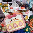草莓蛋糕硅膠口紅包鑰匙卡多用斜挎零錢包【橘社小鎮】