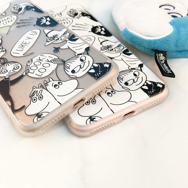 【SZ33】JJ iPhone7/8 手機殼 蠶絲紋小不點白底姆明 iPhone7/8 plus iphone 6 plus手機殼 iphone 6s