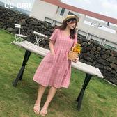 中大尺碼 V領木釦格紋長洋裝~共兩色 - 適XL~4L《 68298 》CC-GIRL
