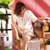 全館免運八折促銷-睡衣女夏天套裝短袖正韓清新學生棉質夏季菠蘿甜美兩件套家居服