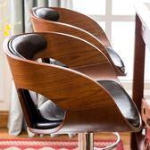 科潤 吧台椅實木高腳凳子升降酒吧椅子復古吧凳旋轉桌椅美式吧椅