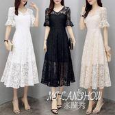 新款夏季女裝韓版喇叭袖蕾絲V領裙子長款收腰顯瘦大擺連衣裙  米蘭shoe