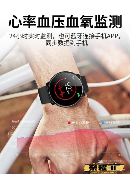 智慧手環 華為通用時尚多功能運動手環男測血壓心率健康圓屏跑步計步藍芽全觸LX  【新品】