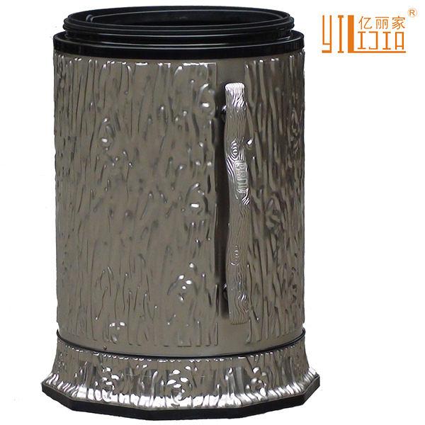歐式家用古銅色垃圾桶無蓋(白鎳)