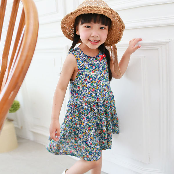 小碎花無袖洋裝 女童 復古 連身裙 連衣裙 洋裙 Augelute 53019