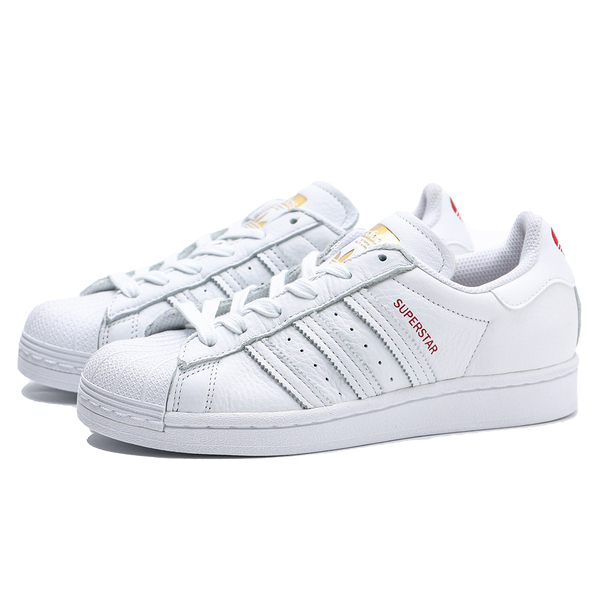 ADIDAS 休閒鞋 SUPERSTAR 全白 紅色 愛心 情人節款 貝殼頭 女 (布魯克林) FX1203