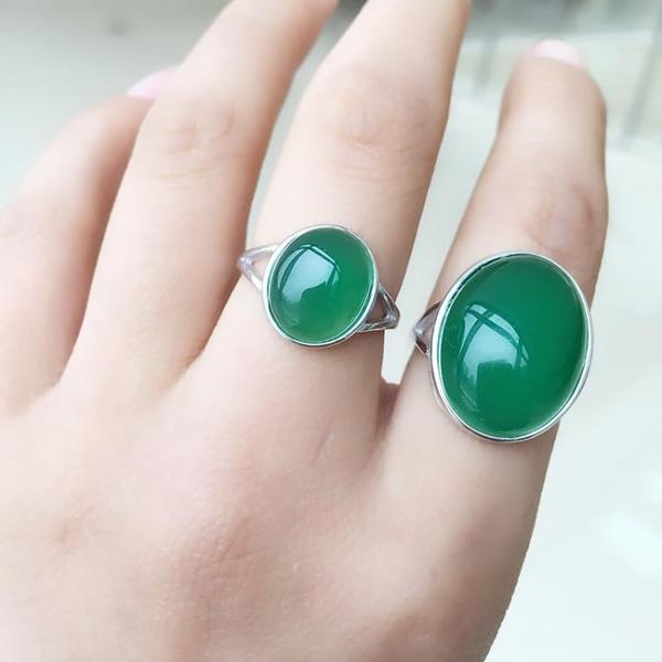 天然巴西綠瑪瑙玉髓戒指925純銀鍍白金女款