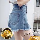 【Stay】韓版寬鬆顯瘦毛邊牛仔短褲 短褲 牛仔短褲 女生短褲 短褲 褲子 熱褲 女裝 休閒短褲【P120】