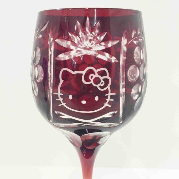 【震撼精品百貨】Hello Kitty 凱蒂貓~玻璃切割高級紅酒杯-紅色