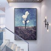【新年鉅惠】現代簡約裝飾畫油畫掛畫玄關客廳餐廳臥室沙發背景墻北歐豎版壁畫
