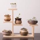 實木桌面花架家用室內多層小花架綠蘿多肉花架裝飾客廳窗台花盆架  【優樂美】