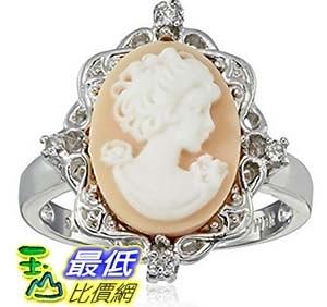 [美國直購] Sterling Silver Pink Cameo Oval with Created White Sapphire Ring, Size 7 戒指