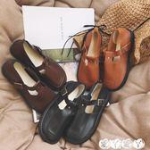 娃娃鞋 日系復古森女圓頭娃娃鞋單鞋學院風女鞋英倫風小皮鞋平底丁字鞋女 【全館9折】