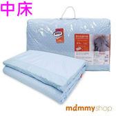 媽咪小站 嬰兒乳膠加厚中床墊-日系水玉藍 (M 59x119x3.5cm)