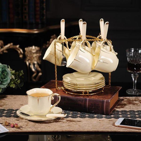 高檔陶瓷歐式咖啡杯碟套裝英式簡約陶瓷金邊下午茶茶杯送架勺