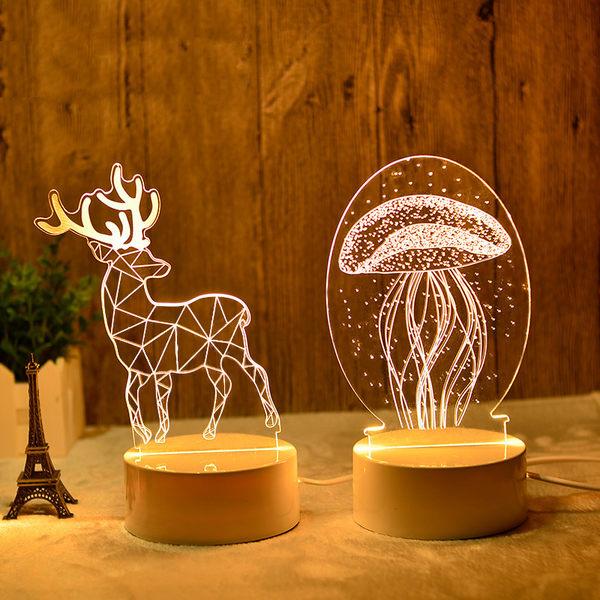 3d立體小夜燈 少女比心插電檯燈創意卡通led臥室床頭台燈 創意禮物