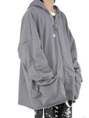 長袖自製寬鬆百搭跨肩大口袋連帽休閒拉錬帽T外套(快速出貨)