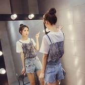 FINDSENSE G5 韓國時尚 網格 透視 復古 印花 假兩件式 T恤 短袖上衣