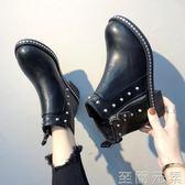 機車馬丁靴女冬季新款百搭英倫風加絨短靴網紅平底瘦瘦靴女鞋 至簡元素