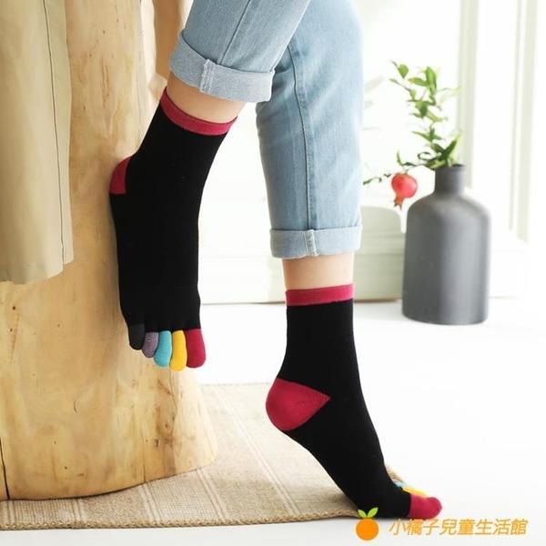 加厚毛圈彩色腳趾五指襪女純棉中高筒加絨毛巾襪分趾保暖吸汗【小橘子】