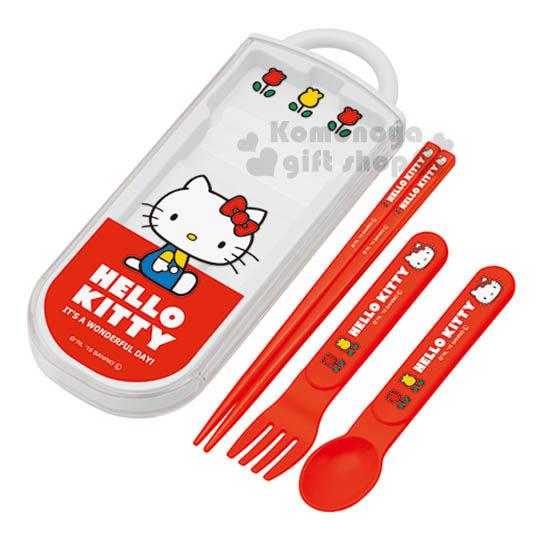 〔小禮堂〕Hello Kitty 日製三件式餐具組《白.透明.側坐.70年代系列》靜音盒滑蓋式開法4973307-32934