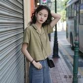 復古格子短袖襯衫女韓版設計感法式短款上衣【毒家貨源】
