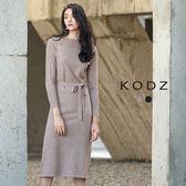東京著衣【KODZ】秋冬爆款顯瘦修身質感設計針織長洋裝-S.M.L(172103)