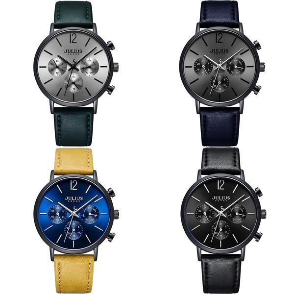 JULIUS 聚利時 城市之耀三眼皮革錶帶腕錶-孔雀綠/40mm【JAH-101A】
