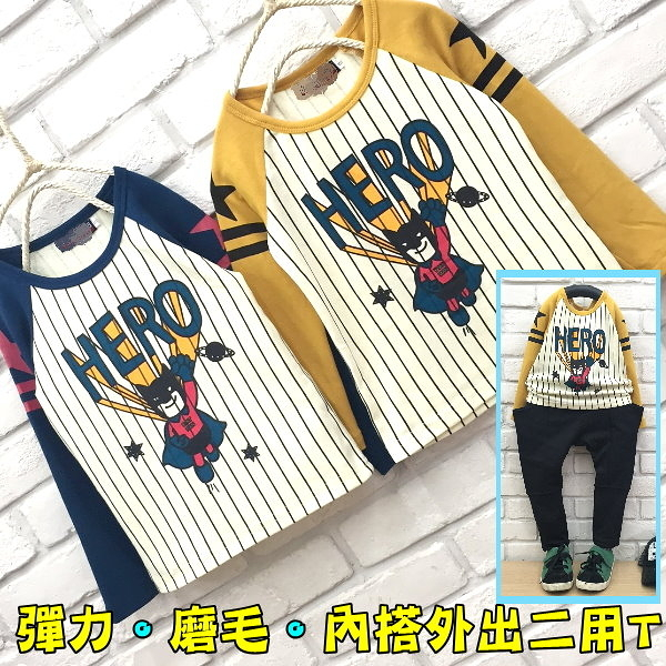 【韓版童裝】彈力內磨毛蝙蝠俠HERO斜肩袖星球上衣-藍/黃二色【BB16101703】
