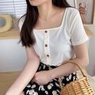 方領上衣 復古方領短袖t恤女夏裝新款洋氣心機小眾短款修身鎖骨上衣-Ballet朵朵