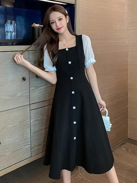 方領洋裝 法式復古方領連身裙2021新款夏裝收腰單排扣撞色泡泡袖a字小黑裙 晶彩 99免運