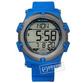 JAGA 捷卡 / M1192-E / 電子運動 倒數計時 計時碼錶 鬧鈴 日常生活防水 橡膠手錶 藍色 47mm