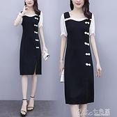 拼接洋裝大碼女裝夏季新款改良旗袍復古小黑裙修身顯瘦雪紡拼接連